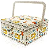 Juvale Retro Style Sewing Basket with Handle (8 x 8 x 4 Inches)