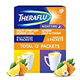 Theraflu Multi-Symptom Severe Cold and Theraflu Nighttime Severe Cold and Cough Hot Liquid Powder Combo Pack 12 count Box