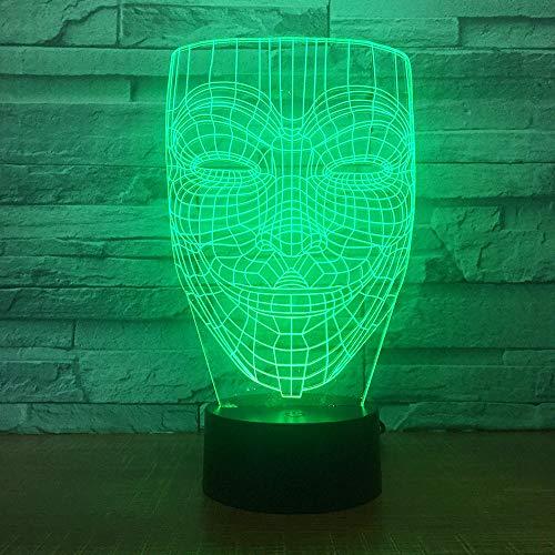 KINGBENG V-Vendetta Maske Illusion Nachtlicht trotzt anonymen Guy Fox Party Dekoration Beleuchtung Glimmlicht 16 farben Nachtlicht 3D Licht Illusion Nachtlicht Visuelles Licht Kunst Licht Dekoration L