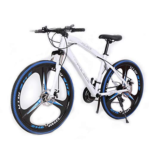 KT Mall 26 in Mountain Bike for Adult 21-Speed Mountain Bike with High Carbon Steel Frame and Anti-Skid Tire All Terrain Bicycle with Mechanical Disc Brakes SSS-Level Shock Absorption,White