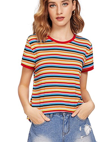 SheIn Women's Striped Ringer Round Neck Short Sleeve T-Shirt Casual Tops Red Medium