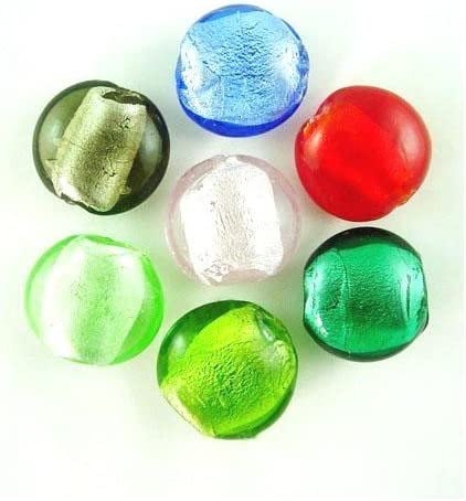 Wholesale Mixed-Colour Foil Glass Beads Free Shipping Cheap Bargain Gift Puffy Packs 10 San Antonio Mall Coin 20mm