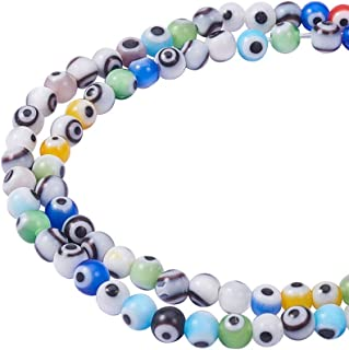 NBEADS 1 Strand (About 100pcs/strand) 4mm Random Mixed Color Handmade Evil Eye Lampwork Beads Round Glass Beads for Bracelet Jewelry Making