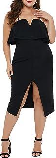 فستان طويل للنساء من Ecosunny ذو فتحة أمامية مقاس إضافي فستان سهرة للحفلات متوسط الطول