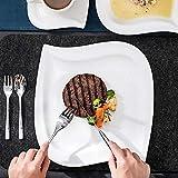 MALACASA, Serie Elvira, 60 TLG. CremeWeiß Porzellan Geschirrset Kombiservice Tafelservice mit Tassen, Untertassen, Dessertteller, Suppenteller und Flachteller für 12 Person - 4