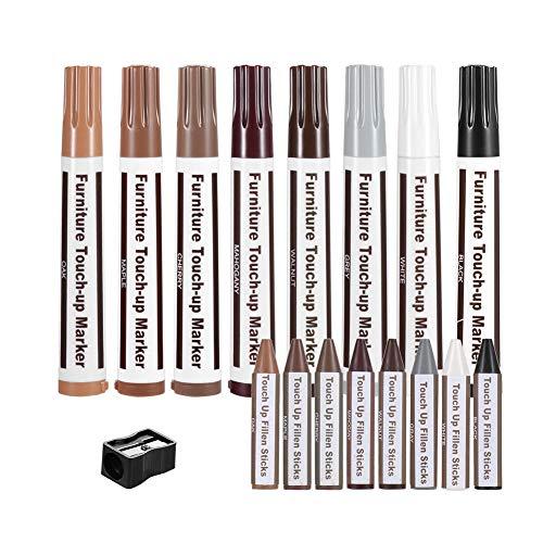 HooAMI Kit de Réparation Stylos de Retouche de Meubles en Bois avec Taille-Crayon pour teintures, égratignures, planchers de Bois, Tables。