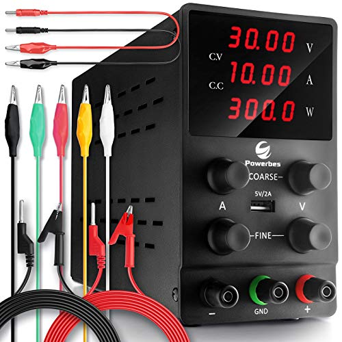 POWERBES DC Power Supply Variable 30V 10A - Adjustable Switching Regulated Benchtop Power Supply - Highly Portable, 3-Row & 4 Digits Display, Highly Accurate (0.01V - 0.001A), Testing Leads Included