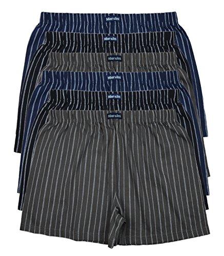 6 bedruckte & weiche 100% Baumwoll Herren Boxershorts Boxer Short in 6 oder 3 modischen Farben im 6er Set verfügbar in S M L XL 2XL 3XL 4XL & 5XL 6XL, Ohne Eingriff Set A, 7XL-13