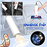 Handheld Auto Vacuum Cleaner Car Dusts Cleaner Wet and Dry Dual Use High-Power Powerful Suction for Lightweight Home pet Hair (21.5×5.4cm, White)