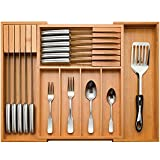 Utensil Organizer for Kitchen Drawers - Bamboo Expandable Cutlery Tray with 2 Removable Knife Blocks - Kitchen Drawer Divider for Flatware and Silverware
