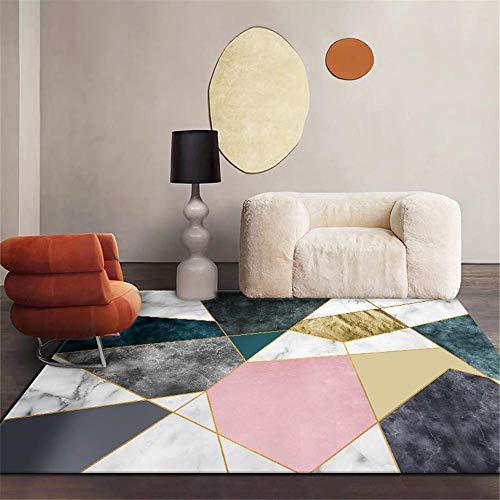 abitacion juvenil La tela de terciopelo cristalino de la alfombra geométrica de la sala de estar es lavable a máquina y antideslizante Decoración interior alfombras alfombras 120X160CM 3ft 11.2'X5ft 3