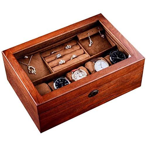 ZHANG Caja de Almacenamiento de Relojes, Gabinete de Exhibición de Joyería de Almacenamiento de Relojes de Cuero de PU para Hombres con Marco de Vidrio para Guardar Relojes y Joyas