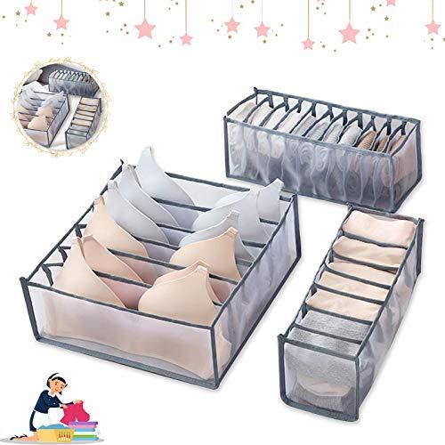 Boîte de rangement sous-vêtements,3 Pièces séparateurs de tiroir pliables, Boîte de Rangement Lavable,pour Soutien-Gorges, Chaussettes, Foulard Séparateurs de Tiroir (Gris)
