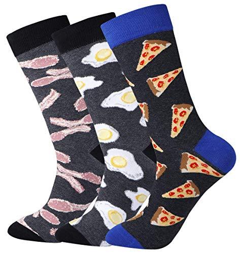 Funny Pizza Dress Socks for Men Cotton Casual ODD Patterned Quarter Crew Socks Size 9-13