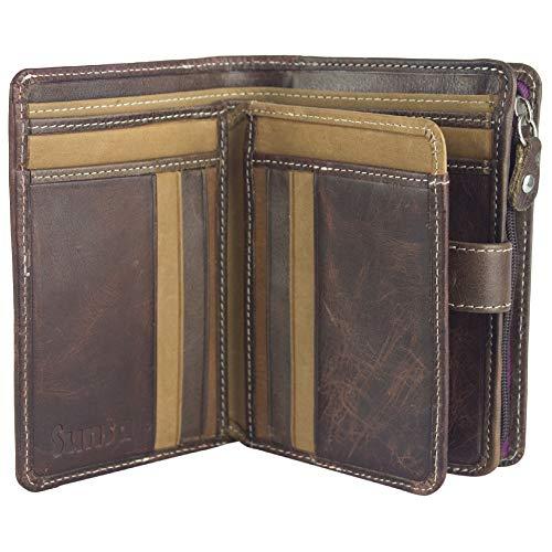 Sunsa Geldbörse für Damen Kleiner Leder Geldbeutel Portemonnaie mit RFID Schutz Brieftasche mit viele Kreditkarten Fächer Geldtasche Wallet Purses for Women das Beste Gift kleine Geschenk 81651