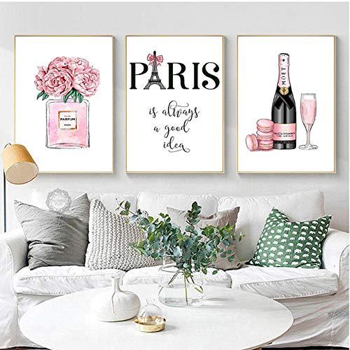 Champagne Roze Parfum Poster Mode Kunst Posters en Prints Parijs Toren Canvas Schilderij Kamer Decoratie Foto's 40x60cmx3 ongekaderde