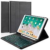 iPad Keyboard Case for iPad 10.2 2019, iPad Air 10.5 2019, iPad Pro 10.5 2017 HiFan 7 Color Backlit Detachable Bluetooth Keyboard with Full Protection iPad case Built-in Pencil Holder