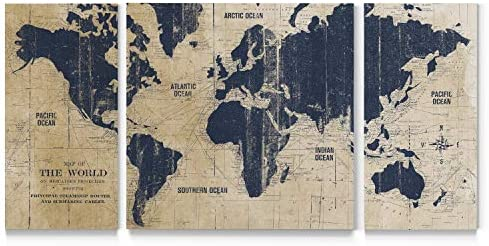 Renditions Gallery Old World Map Canvas Wall Art White and Grey Antique Travel Map of The World product image
