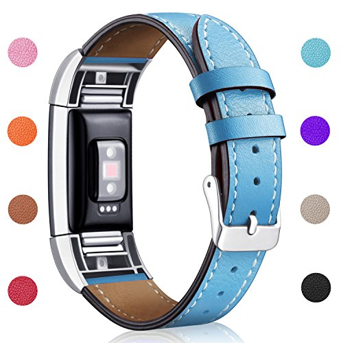 Hotodeal Replacement Leather Band Compatible for Charge 2, Classic Genuine Leather Wristband Metal Connector Watch Bands, Fitness Strap Women Men Small Large (Blue- Silver Buckle)