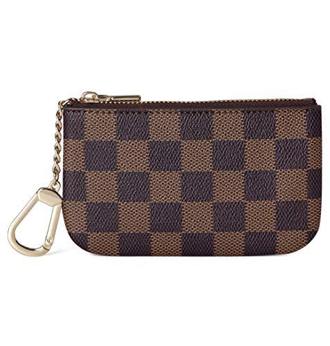 Daisy Rose X Katy Roach Luxus Zip Checkered Schlüsselanhänger Pouch | Pu Vegan Leder Mini...