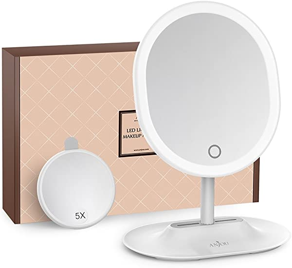 Makeup Mirror Rechargeable LED Lighted With 1X 5 X Magnification Anjou USB Rechargeable Vanity Mirror Touchscreen Dimmable LED Light For Countertop Cosmetic Makeup