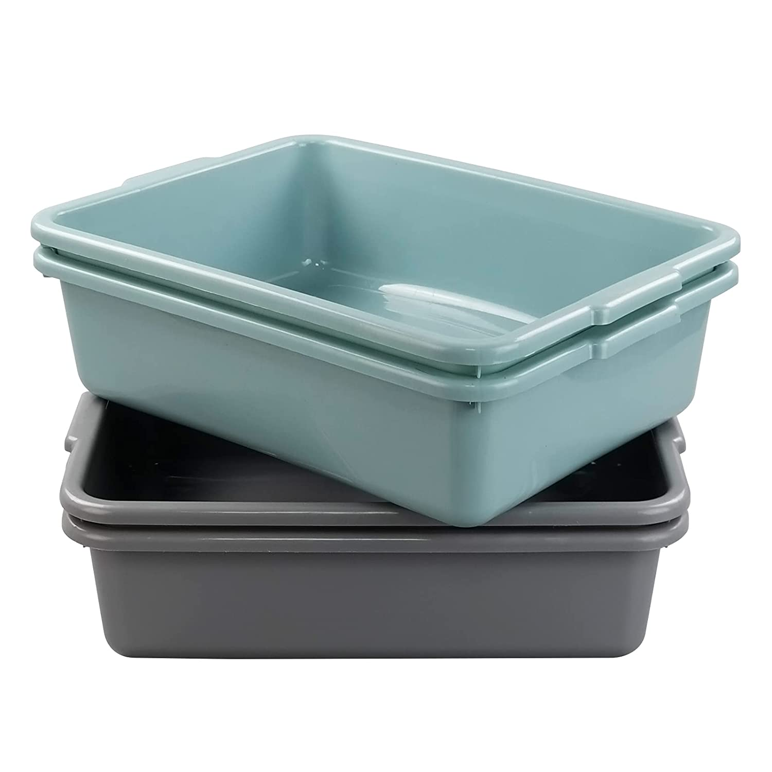 Xyskin Some reservation 4 Packs Excellent Plastic Commercial Tubs Utility Rectangle Bus Bu