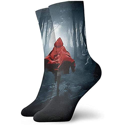 Kevin-Shop hardlopen meisje met rode mantel en wolf bemanning sokken jurk warme sokken voor werk reizen hardlopen wandelen buiten