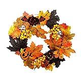 Uayasily Maple Leaf 1pc Corona De Navidad Corona De Flores Artificiales De Calabaza Led Luces De Adornos De Decoración De Puerta De Entrada para La Acción De Gracias De Halloween