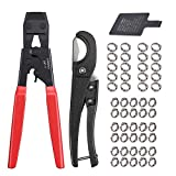 CAMWAY PEX Crimping Cinch Tool & PEX Cutter with 50PCS Ear Hose Clamps 1/2' 3/4' for Fastening Stainless Pipe Clamps from 3/8-Inch to 1-Inch