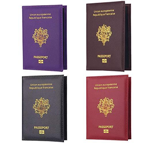 4pcs Protège-Passeport Porte Etui Housse Passeport Couverture Protection Holder Pochette Passeport Protecteur Portefeuille Carte de Visite Organisateur de Cartes Accessoires de Voyage