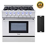 Thor Kitchen HRD3606U 36'' Dual Fuel Pro-Style Range Freestanding Professional Style with 5.2 cu.ft Convection Oven in Stainless Steel, 6 Burners, Cast-Iron Reversible Griddle