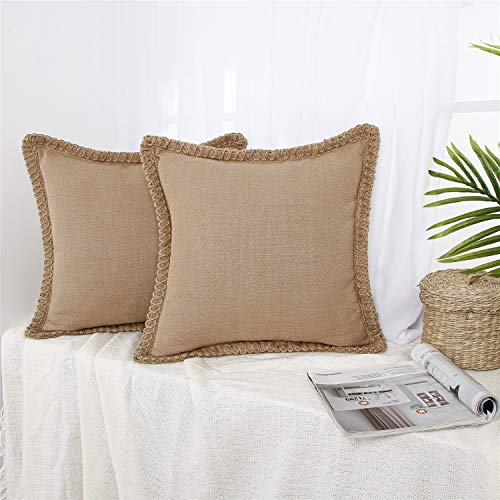 Topfinel Vintage Woven Lace Linen Large Khaki Cushion Covers 50cm x 50cm Inches Decorative Continental Square Throw Pillow Cases 2 Pack with Invisible Zipper