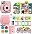 Fujifilm Instax Mini 11 Instant Camera Blush Pink + Carrying Case + Fuji Instax Film Value Pack (20 Sheets) Accessories Bundle, Color Filters, Photo Album, Assorted Frames
