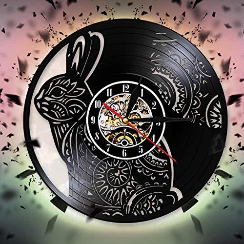 YINU Cute Rabbit Wandkunst Home Decor Uhr Hohl Tier Wanduhr Modernes Design Vinyl Schallplatte Wanduhr Dekoration 3D Wanduhren