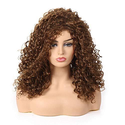 SEXYY Cheveux Perruques pour femme noire 24in Afro Kinky bouclés perruques perruque complète Mme court bouclés,Afro résistant à la chaleur Perruque pleine crépée marron