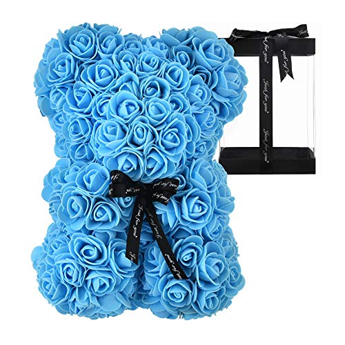 Rose Bear Rose Teddy Bear Best Gift for Valentines Day, Anniversary, Birthdays & Bridal Showers Fully Assembled 10 inch Flower Bear- w/Clear Gift Box (Blue)