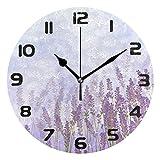 Hunihuni Wanduhr mit Blumen, Lavendel, leise, Nicht tickende Uhr für Schlafzimmer, Wohnzimmer, Büro, Dekoration