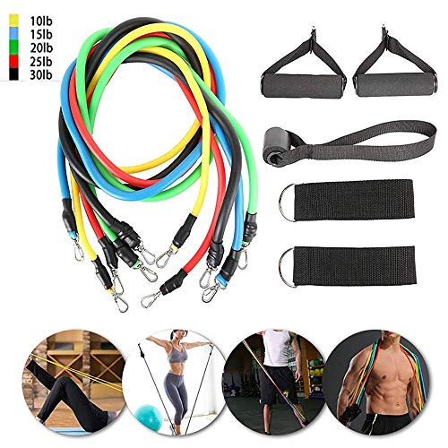 ANYIKE 11 STKS Oefening Resistance Bands Set, Workout Oefening met Fitness Tubes, Fitbeast Resistance Band, Fitness Stretch Oefening Banden, Enkel Straps, voor Thuis Fitness, voor Mannen Vrouwen