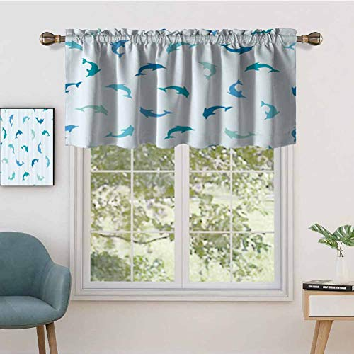 Premium Rod Pocket Valance Curtain Panel Leaping Playing Dolphin Figures Aquatic Animal Marine Theme, Set of 2, 42'x36' for Indoor Decoration