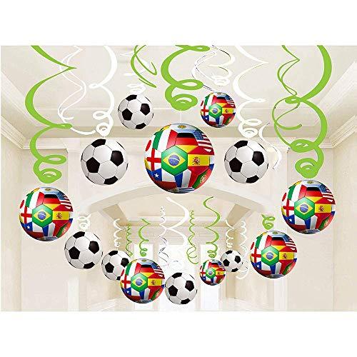 30Pcs Decoración de Fútbol-Artículos decorativos para colgar estilo Fútbol Suministros para Fiestas de Cumpleaños de Niños Decoraciones para fiestas de la copa mundial de fútbol