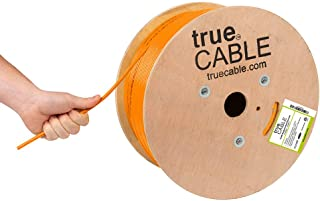 Cat6A Plenum (CMP), 1000ft, Orange, 23AWG 4 Pair Solid Bare Copper, 750MHz, ETL Listed, Unshielded Twisted Pair (UTP), Bulk Ethernet Cable, trueCABLE