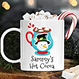 Personalized Hot Cocoa Snowman Christmas Cup with Kids Name Unbreakable Child's Mug   Dishwasher Safe   BPA Free