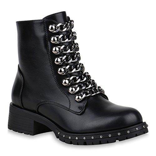 Damen Schuhe Biker Boots Leicht Gefütterte Stiefeletten Ketten Nieten 153163 Schwarz 37 Flandell