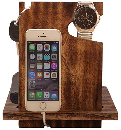 ARB Exports - Wooden Docking Station With Watch holder, Keys Holder and Valet Tray Desk Organizer...