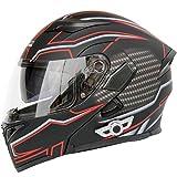Allround Helmets Bluetooth Integrado Modular Casco Moto Integral para Motocicleta, Personalidad Fresca Casco con Doble Visera, para Montar Al Aire Libre Apto para Cruceros Locomotora H,M=(57~58CM)