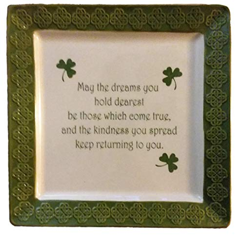 St. Patricks Day Irish Celtic Platter Serving Tray Celtic Shamrocks Design 12-inch Square Dish Plate, Great Gift