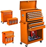 8-Drawer Rolling Tool Chest, Keyed Locking System Tool Box High Capacity Tool Cabinet with Sliding Drawers and 4 Universal Wheels, Movable Toolbox for Workshop Machinery Garage (Cool orange)