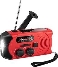 Radio Am/FM Portátil, Solar Radio de Emergencia Dinamo Manivela con 2000mAh Power Bank Linterna LED, USB Recargable Meteorológica Radio con Alarma SOS para Familiar Campin