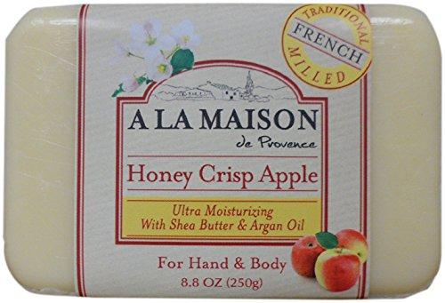 A La Maison - Savon de barre fraisée française traditionnelle pour la main et le miel de croustade de miel de corps - 8.8 oz.