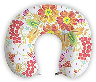 EnjoyIt I Love Flowers U-Shape Soft Memory Foam Neck Cervical Support Cushion Rest Pillow for Car Airplane Travel